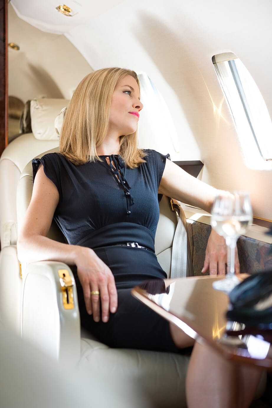 Lady Relaxing Inside Private Jet